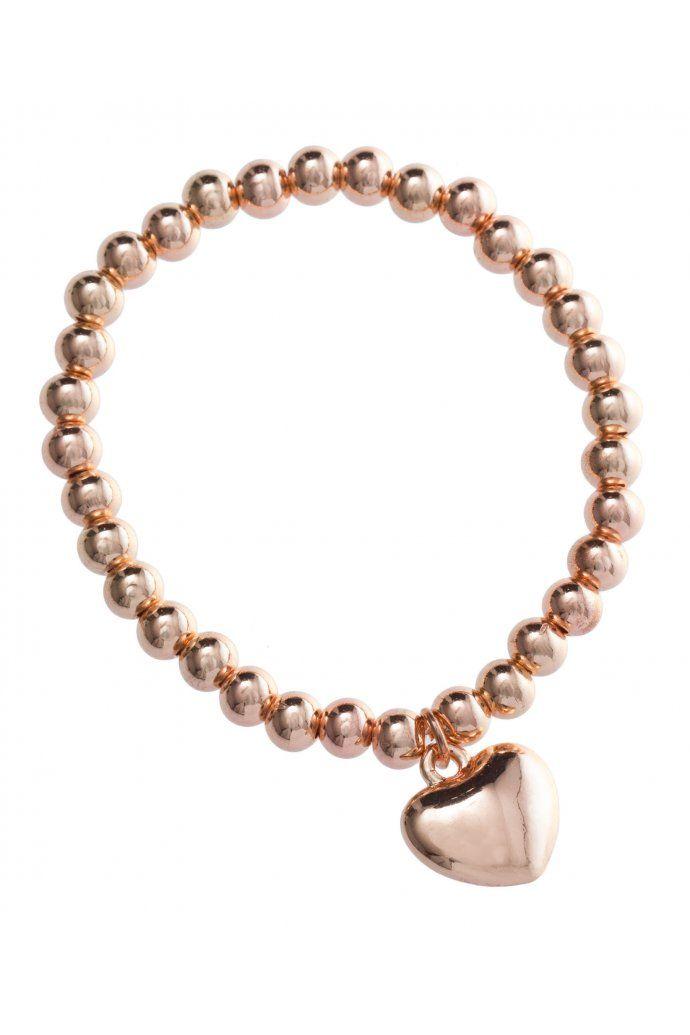 Rose Gold Heart Charm Stretch Bracelet $12.95