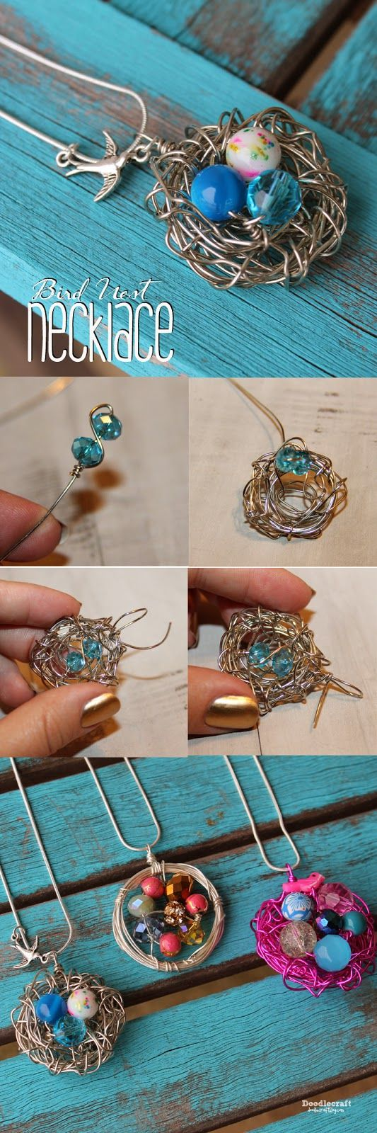 Bird Nest Wire Wrapped Necklace!  Great Mother's day gift idea!
