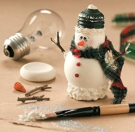 Light bulb snowman craft -I varied a little from this with grandkids this weekend.  Didn't use the base.  We tied jute cord at the base of the screw in area so we could make them ornaments for the tree.(Christmas craft - great for kids) by Anja K