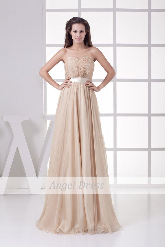 Long Prom Dress / Long Champagne Evening Gown by angeldress2014, $122.00