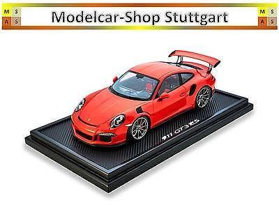 Porsche 911 GT3 RS LAVA ORANGE WITH DISPLAY CABINET Ltd.Edition 200 Pieces Spark
