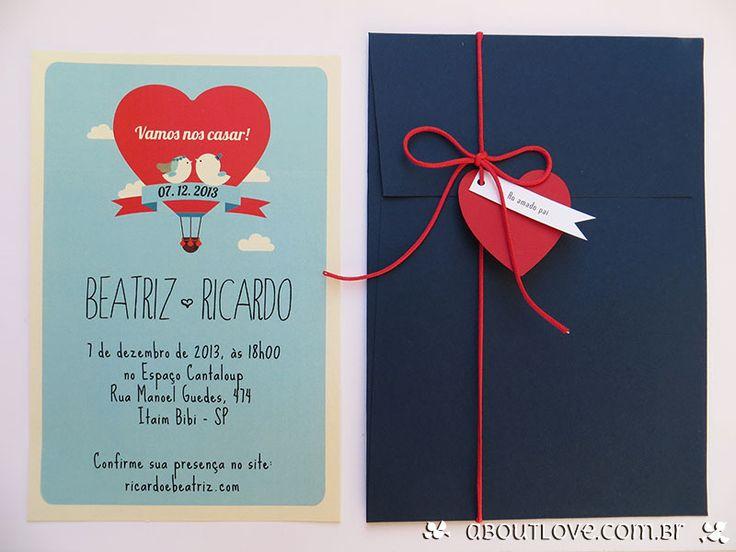 Imagens de Convite de casamento moderno com com casal de passarinhos - AboutLove