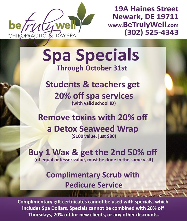 Check out our new spa specials! Students and teachers get 20% off spa services! Also, buy one wax and get the 2nd half off. See flyer for more spa deals. Going on now through October 31st 302-525-4343