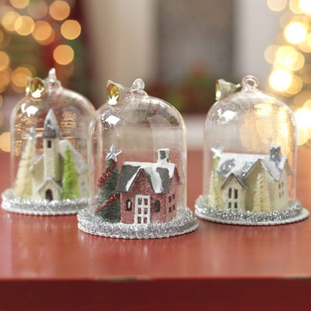 Glitter House Pinspiration: pick up old glass covered cake stand to keep houses/village clean and safe while on display