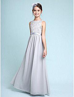 2017 Lanting Bride® Floor-length Chiffon / Lace Junior Bridesmaid Dress Sheath / Column Bateau with Lace – GBP £ 184.50