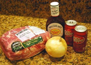 BEST Pulled Pork EVER | Momfessionals | Bloglovin  Crockpot on low 1 quartered onion 1 can Dr Pepper Pork roast Cook 8 hrs Save 1/2 c pepper juice with 3/4 c sweet baby rays.   Mix into shredded pork  A Hit!!!! Made 11/03/15