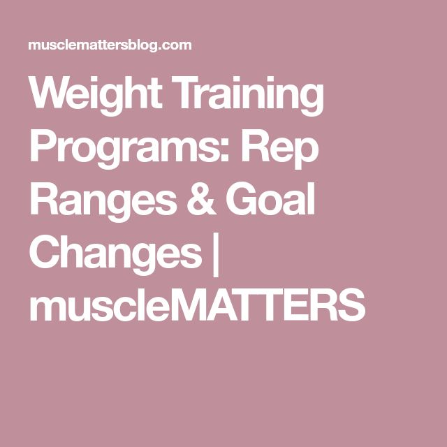 Weight Training Programs: Rep Ranges & Goal Changes | muscleMATTERS