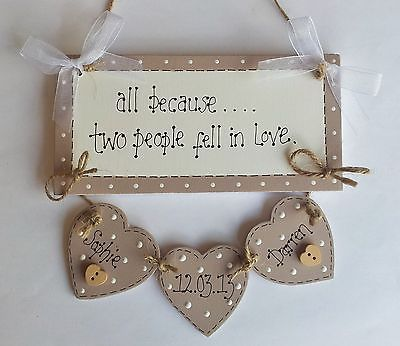 Shabby Chic Personalised Wedding Engagement Plaque Sign Gift Keepsake