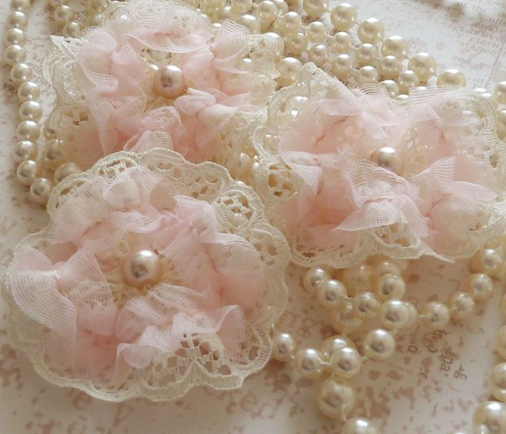 pink shabby chic things | Shabby Chic ivory/pink Lace flowers sew on fabric emellishments ...