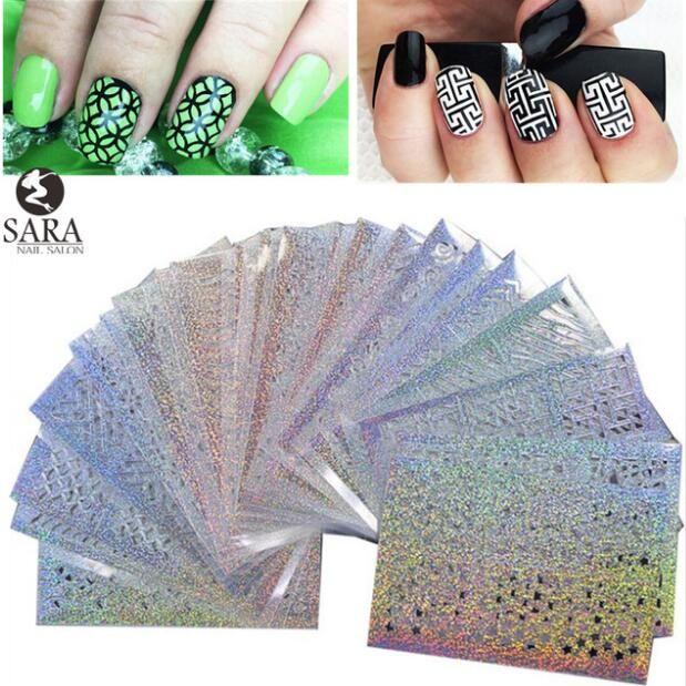 Sara Nail Salon  24Sheets Vinyls Print Nail Art DIY Stencil Stickers For 3D Nails Leaser Template Stickers Supplies STZK01-24