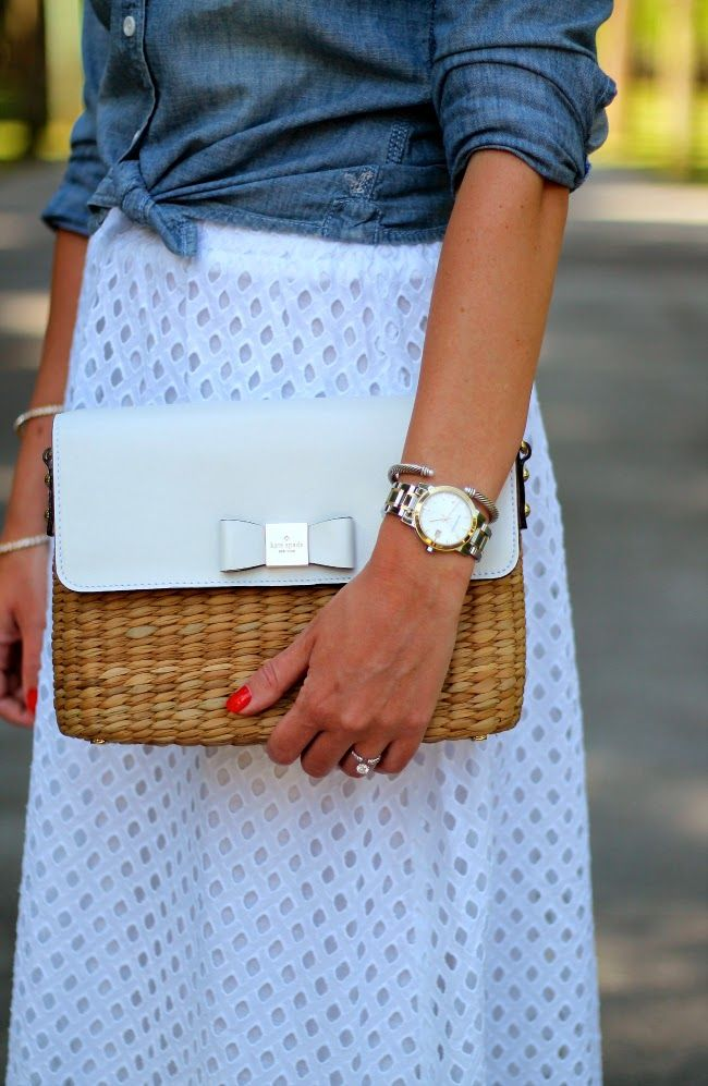 white eyelet skirt and chambray blouse
