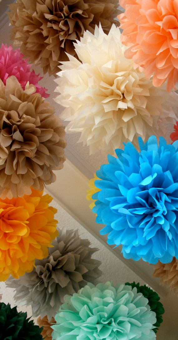 How To Decorate A Wedding Reception Tent | Custom Colors ... 50 tissue paper poms // tent wedding decorations ...