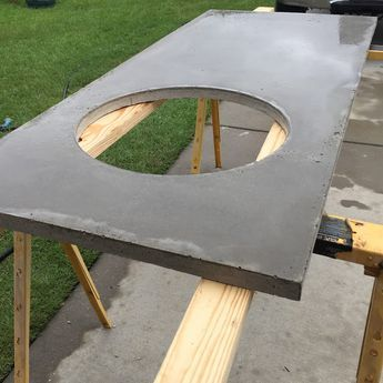 DIY Big Green Egg Table with Concrete Top and Barn Door   The Lowcountry Lady
