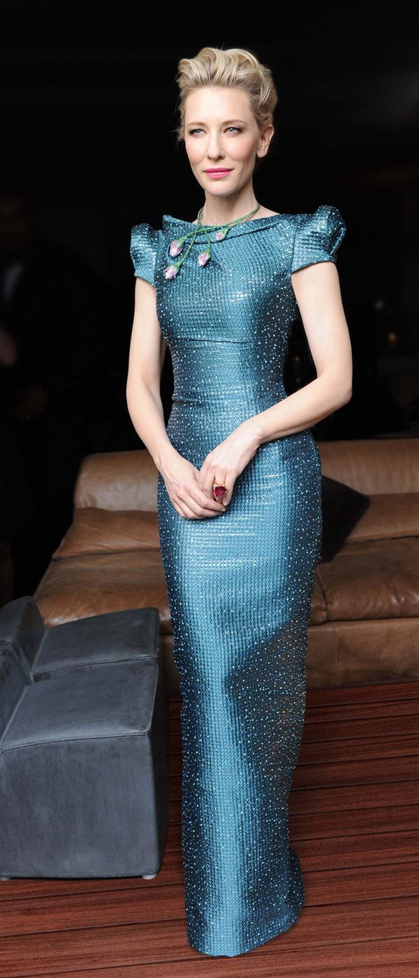 Cate Blanchett in Armani Prive and a Chopard necklace at Cannes 2014