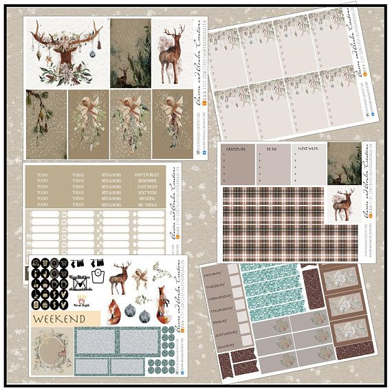 Burlap and plaid nature inspired kit by Aurora and Avalon Creations for Big and Classic Happy Planners and Erin Condren planners.