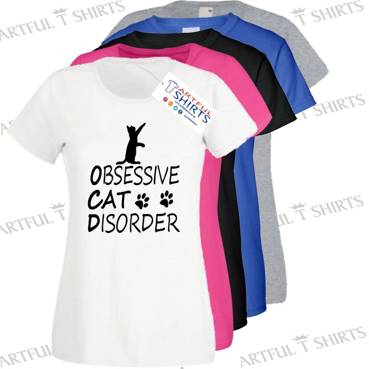 Obseessive #Cat Disorder Funny T-shirts brand new novelty Womens t-shirt Best #gifts for Cats #Kittens Size S,M,L,XL,XXL By Artful T Shirts UK
