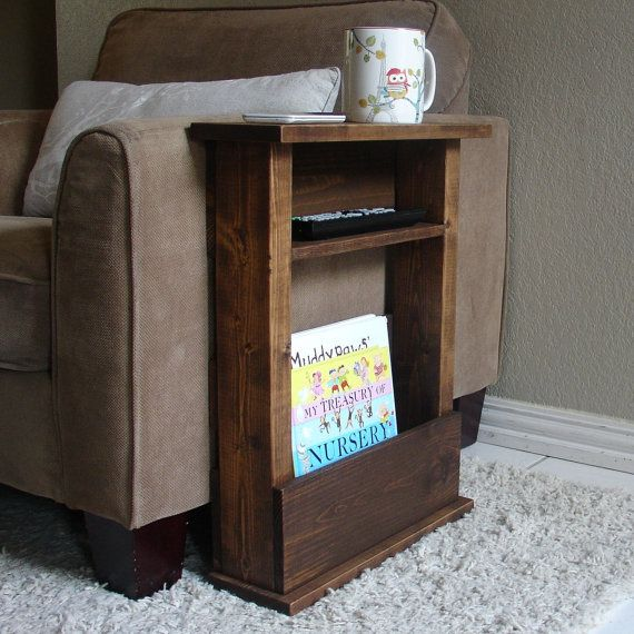 Sofa Chair Arm Rest Table Stand with Shelf and Storage Pocket for Magazines