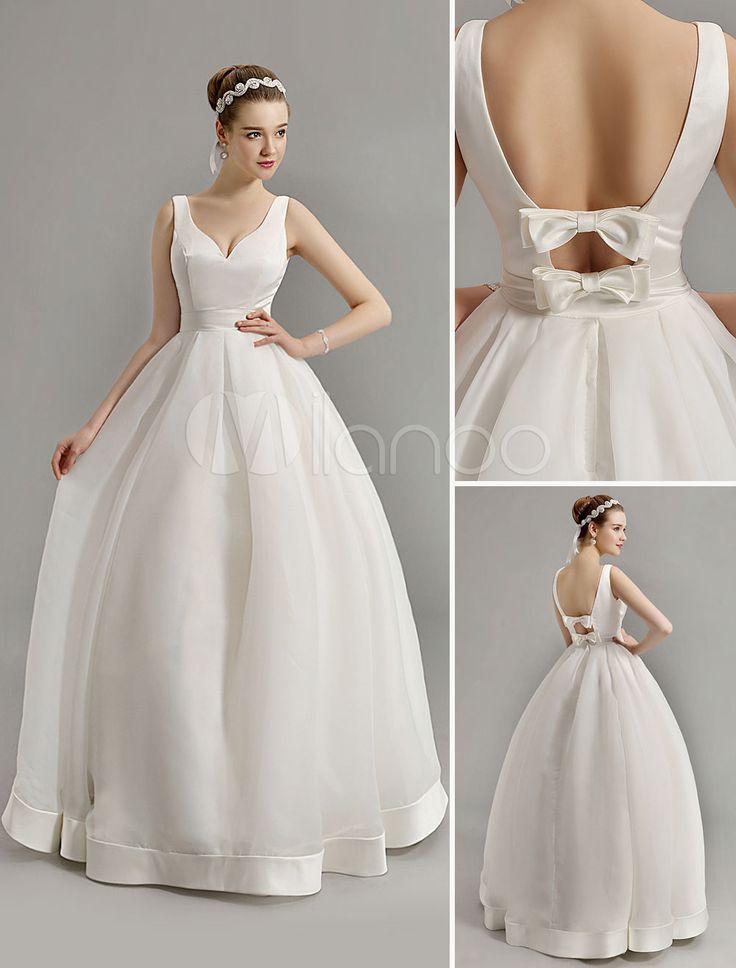 Vintage inspiré plongeante V cou robe de mariée avec Bow embelli découpe dos - Milanoo.com