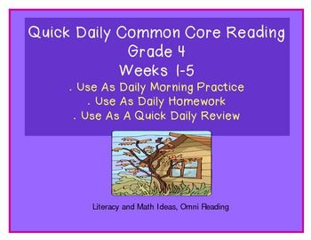 {COMMON CORE FREEBIE ALERT!} /Grade 4/ The Common Core Standards contains many reading comprehension topics that are new to reading instruction.  This document contains quick, daily review that can be completed in just five minutes a day.   Many of the standards repeat across the weeks to provide steady review and exposure to the Common Core Standards.  Click {Download Preview} to access a free sample of this document.