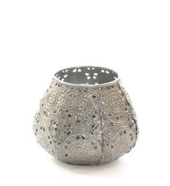 Swiet home windlicht van opengewerkt metaal en glazen inzet model luca windlicht grijs 9 cm - Metaal schorsing en glazen ...