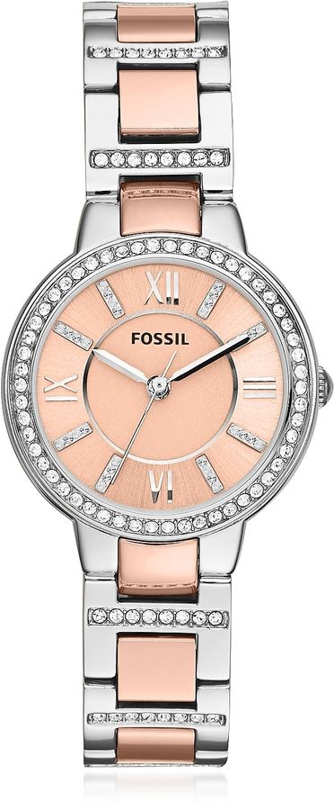 Fossil Virginia Two Tone Stainless Steel Women's Watch w/Crystals #ad #rosegold #fossilwatches