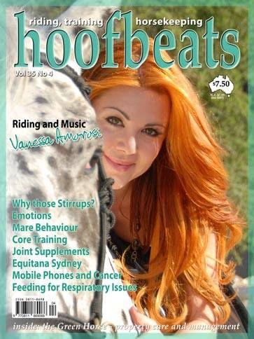 Vanessa Amorosi on the cover of hoofbeats magazine