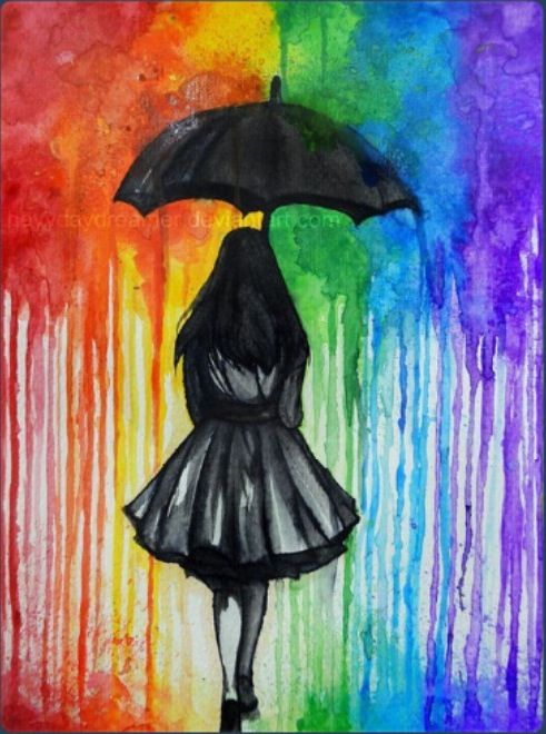 Tumblr Watercolour Art Girl Rainbow The Style Is Very Clever Because It Looks Like Its Melted CrayonsMelted Crayon CraftsRainbow