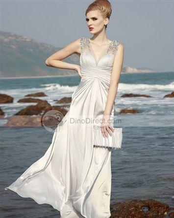 Vienna® Satin Ruffle Beading V Neck Gown