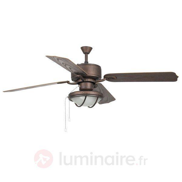 Ventilateur de plafond HIERRO de couleur marron, référence 3506016 - Ventilateurs de plafond ou à poser chez Luminaire.fr !