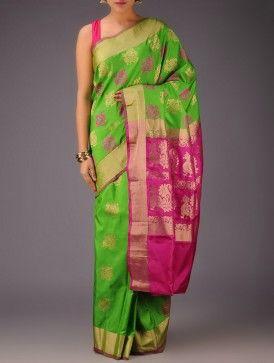 Green-Fuschia Peacock Motifs Gadwal Silk Saree