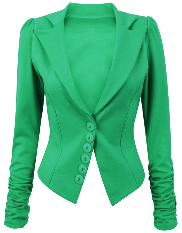 Womens Long Ruched Sleeve Button Front Panell Slim Fit Blazer /Jacket Size