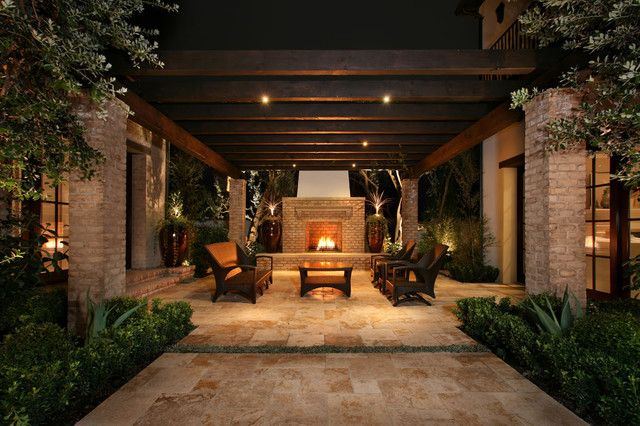 Want to Add Outdoor Seat, Glass Door & Hammock for Patio Design? -  Succulent,  Outdoor Fireplace,  Exposed Beams, Agave &  Outdoor Seating