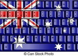 Computer Keyboard with Australia Flag Concept