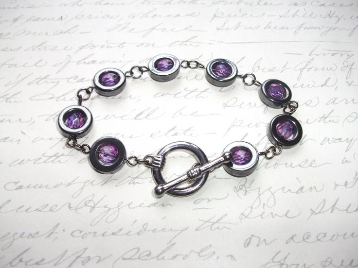 Hematite rings bracelet de la boutique BijouxdeBrigitte sur Etsy