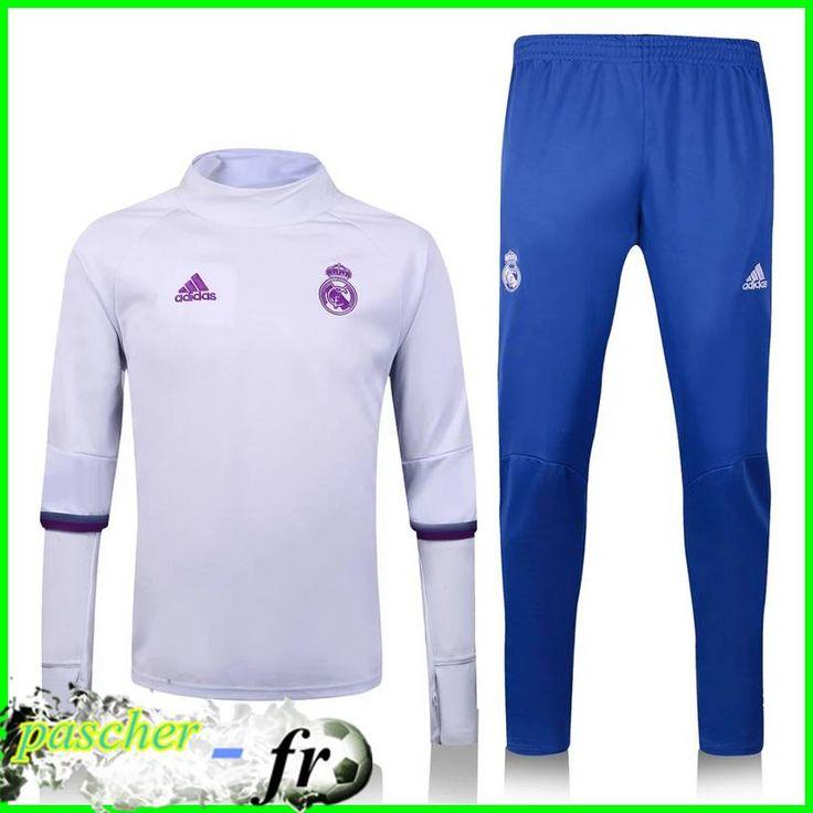Nouveaux Survetement de foot Real Madrid Collar Blanc + Pantalon Bleu 2017