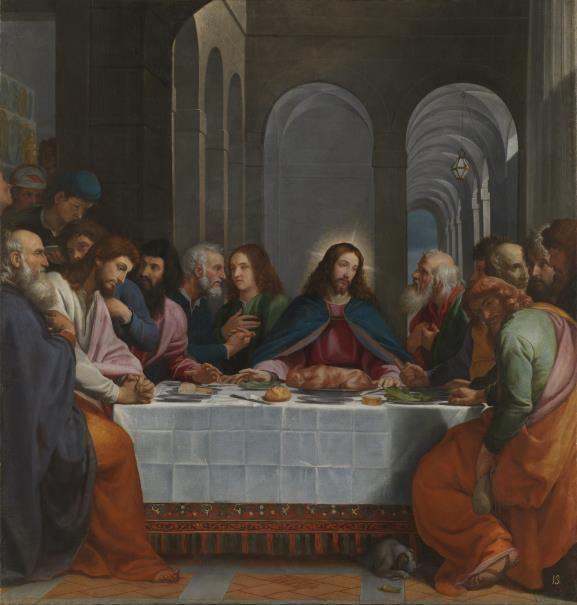 La Última Cena / The Last Supper // 1605 // Bartolomé Carducho // Siguiendo la tradición judía, en la Última Cena Jesús y sus discípulos tomaron cordero asado, pan ázimo -sin levadura-, hierbas amargas y también vino, elemento que falta en esta representación