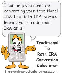 Roth IRA Conversion Calculator for estimating the net consequences of converting your traditional IRA to a Roth IRA.