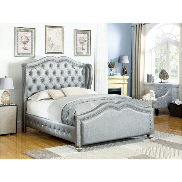 Belmont Upholstered Bed W/ Tufted Wing Headboard ($700) ❤ liked on Polyvore featuring home, furniture, beds, nocolor, california king bed, cal king headboard, upholstered twin bed, california king size bed and twin bed