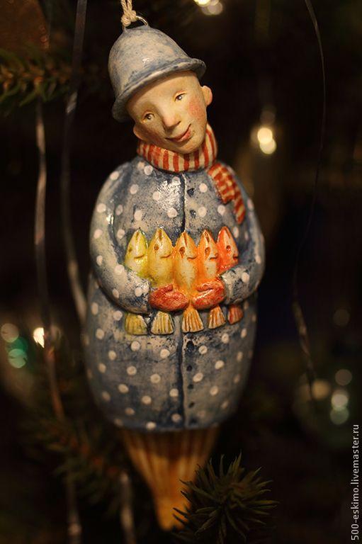 """""""Сказка для золотых рыб"""". Ёлочная игрушка - синий,рыбы,Новый Год,ёлочная игрушка"""