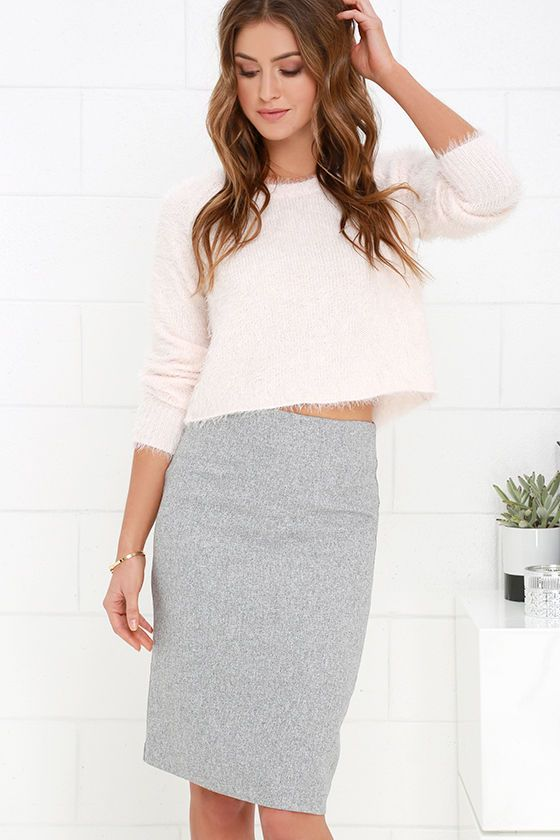 Love this Shanghai Tower Grey Pencil Skirt at Lulus.com! Love the outfit!