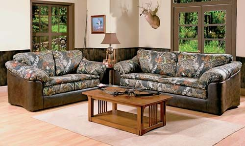 Camo on the den furniture definitely is a twist but would be great in a lodge or outdoors office.