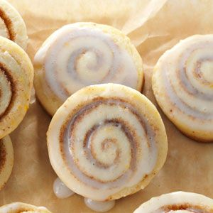 Bite-Size Cinnamon Roll Cookies Recipe -If you love a cinnamon roll and a good spiced cookie, make this bite-sized version that combines the best of both types. Genius! — Jasmine Sheth, New York, New York