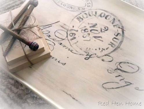 stunning postcard table -- love this! DIY tutorial for transferring design to wood.--