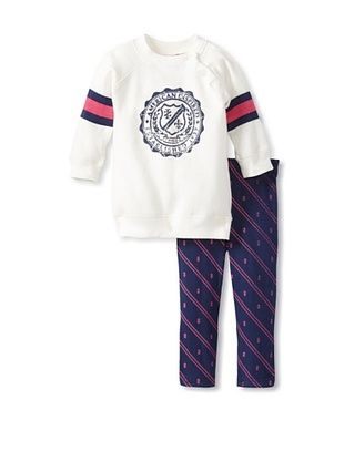 69% OFF Izod Girl's Fleece & Legging 2-Piece Set (White/Navy/Pink)