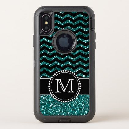 Blue Glitter Chevron Monogrammed Defender OtterBox Defender iPhone X Case - girly gifts special unique gift idea custom