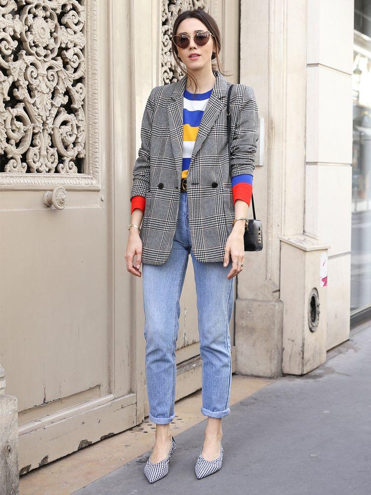 Style. Fashion. Street style. Women's fashion. Blazer. Tweed. Plaid. Layering. Fall fashion. Heels