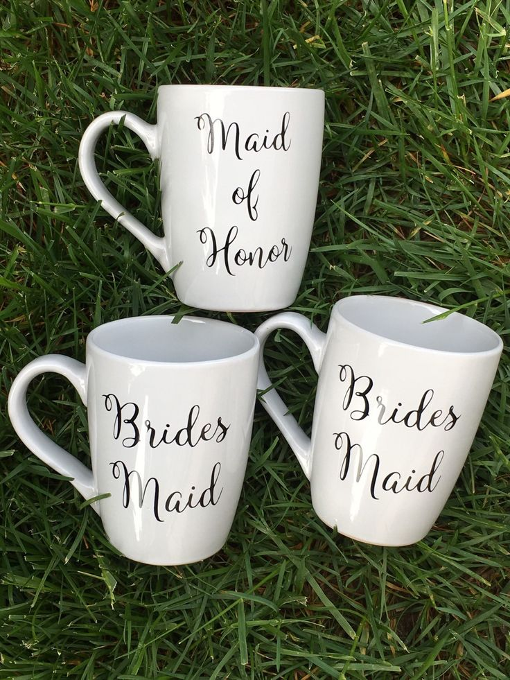 Ceramic Coffee Cups - Ceramic Coffee Mugs - Bridal Party Gifts - Bridesmaid Gifts -  Bridesmaid Cups - Bridesmaid Mugs - Maid of Honor Mugs by MusicCityMonograms on Etsy