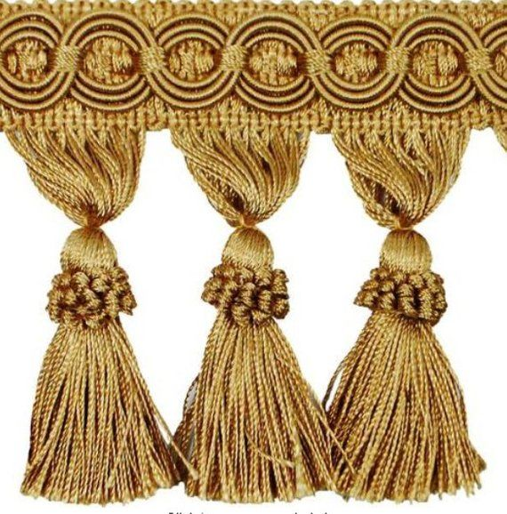 Champagne Silk Dupioni Curtain With Tassel Trim Tassels Gold