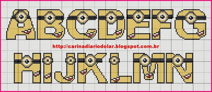 Despicable Me Minion Alphabet pattern - http://carinadiariodolar.blogspot.de