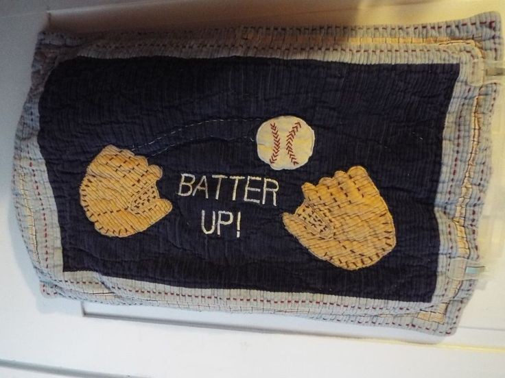 BATTER UP. PILLOW SHAM COVER. POTTERY BARN. BASEBALL THEME. DIFFERENT SHADES OF BLUES. | eBay!